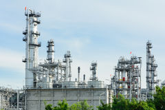 Oil refinery with blue sky in morning time Stock Photo