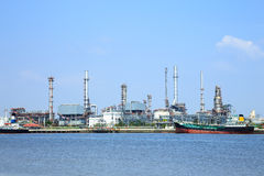 Oil refinery with blue sky Stock Image