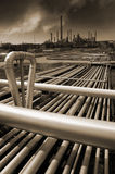 Oil refinery in brown toning concept Stock Image