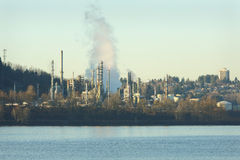 Oil Refinery, Burrard Inlet Stock Images