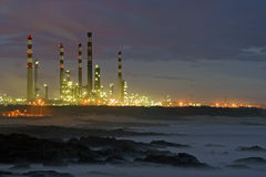 Oil Refinery By Night Stock Photo