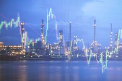 Oil refinery with candlestick graph background , Business and fi. Nancial concept Royalty Free Stock Photos