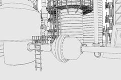 Oil refinery. Cartoon image of oil refinery Royalty Free Stock Photo