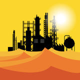 Oil refinery or chemical plant in desert at sunset Royalty Free Stock Images