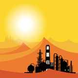 Oil refinery or chemical plant in desert at sunset Stock Images