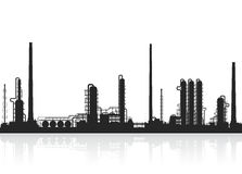 Oil refinery or chemical plant silhouette. Royalty Free Stock Images