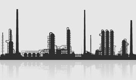 Oil refinery or chemical plant silhouette. Stock Photos