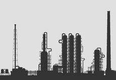 Oil refinery or chemical plant silhouette. Stock Images
