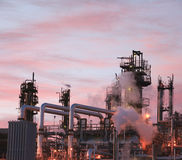 Oil Refinery. Close up view of oil refinery piping and towers Stock Images