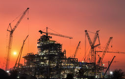 Oil refinery construction stock photography