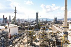 Oil Refinery Construction Site View Stock Photo