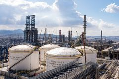 Oil Refinery Construction Site View With Cranes Royalty Free Stock Photo