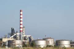 Oil Refinery Cooling Reservoirs Royalty Free Stock Image
