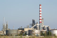 Oil Refinery Cooling Tanks Stock Photo