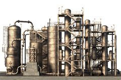 Oil refinery. 3d render of oil refinery royalty free illustration