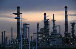 Oil refinery at dawn Royalty Free Stock Photo
