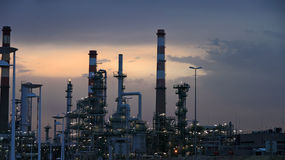 Oil refinery at dawn Stock Image
