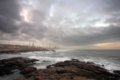 Oil refinery at dawn Stock Photos