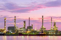Oil refinery at dawn with twilight sky in Bangkok Stock Photography