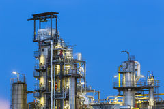 Oil Refinery Detail At Night Stock Photo