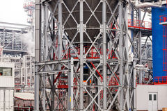 Oil refinery. Detail of oil pipeline with valves in large oil refinery stock photos
