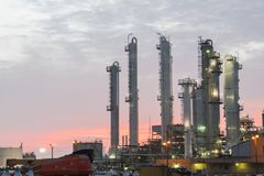 Oil refinery at dramatic sunrise. Oil factory, petrochemical plant in Corpus Christi, Texas, USA. Petroleum industry background Royalty Free Stock Photography