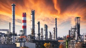 Oil refinery at dramatic twilight stock photo