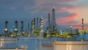 Oil refinery at dramatic twilight in Thailand Royalty Free Stock Image