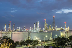 Oil refinery at dramatic twilight in Thailand Royalty Free Stock Photo