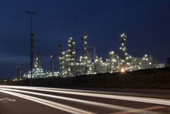 Oil refinery at dusk Stock Photography