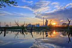Oil refinery at dusk Stock Photo