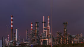 Oil refinery at dusk Stock Image