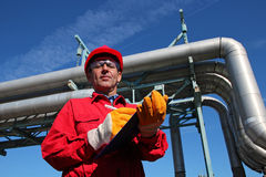 Oil Refinery Engineer and Pipelines Royalty Free Stock Photos