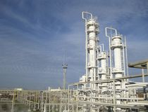 The oil refinery. Equipment for primary oil refining Royalty Free Stock Image