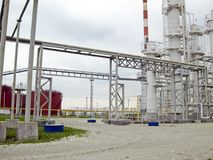 The oil refinery. Oil refinery. Equipment for primary oil refining Stock Image