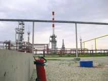 The oil refinery. Oil refinery. Equipment for primary oil refining Stock Photos