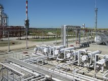 Oil refinery. Equipment for primary oil refining Royalty Free Stock Photography