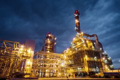 Oil Refinery At evening Royalty Free Stock Image