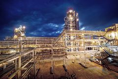 Oil Refinery At evening Stock Images