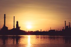 Oil refinery. Oil refinery And evening light stock photo