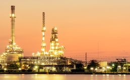 Oil refinery. Oil refinery And evening light royalty free stock photography