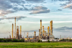 Oil refinery at evening. Royalty Free Stock Image
