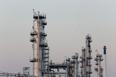 Oil refinery in the evening. Stock Photo
