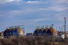 Oil refinery with facilities. Tanks and trains stock photography
