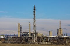 Oil refinery with facilities. Tanks and trains royalty free stock photos