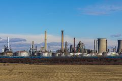 Oil refinery with facilities. Tanks and trains stock images