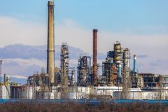 Oil refinery with facilities. Tanks and trains royalty free stock photography