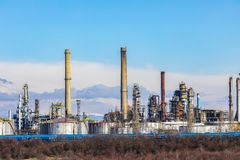 Oil refinery with facilities. Tanks and trains stock image