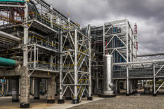 Oil Refinery factory at the cloudy sky, petrochemical plant, Stock Photos