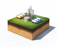 Oil refinery factory. 3d illustration of oil refinery factory standing on cross section of ground with grass isolated on white Royalty Free Stock Photos